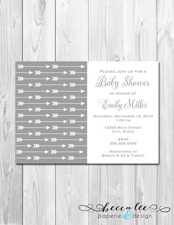 Arrow Baby Shower Invitation - White and Grey - DIY - Printable on Etsy, $13.00