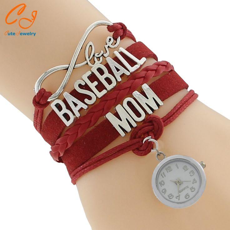 Infinity Love Handmade wristband friendship Bracelets Baseball Mom Clock Charm Bracelet Drop Shipping