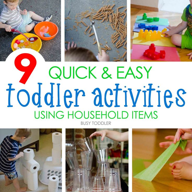 A list of no prep, easy activities using household items. These games & activities hold toddler attention spans for super long and keep little hands busy.