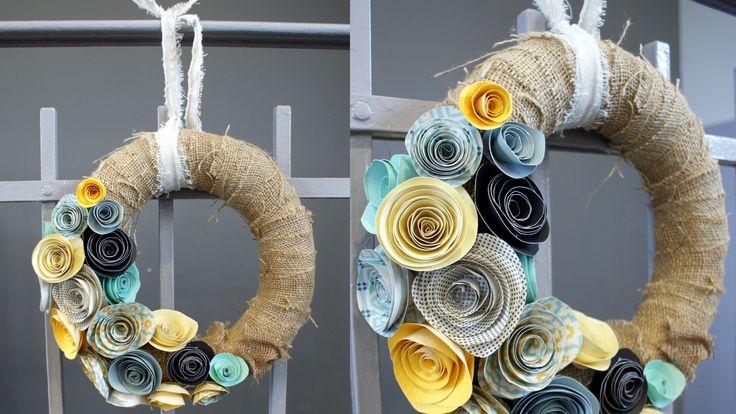 Couronne de fleur en papier. Toile de jute ( sac PDT) / fleur en papier
