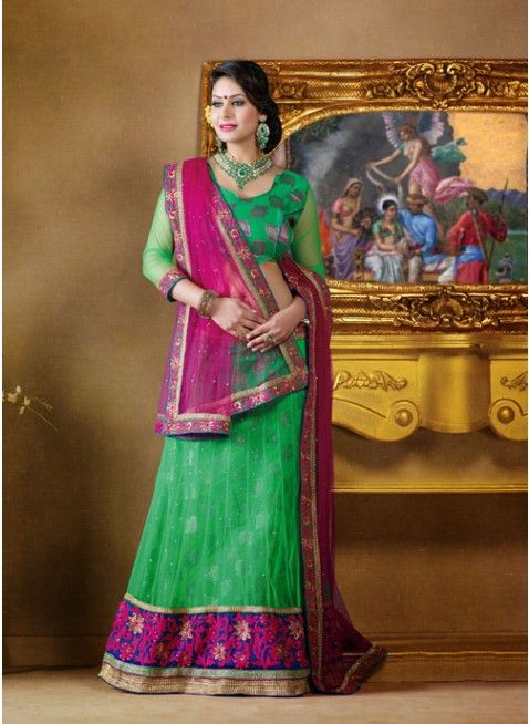 Dazzling Diva Green color Net Based #Lehenga Choli