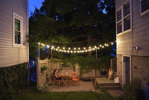 small patioSmall Patios, Gardens Patios, Outdoor Lighting, Backyards Patios, String Lights, Patios Ideas, Outdoor Spaces, Patio Ideas, Patios Lights