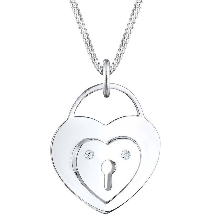 Halskette Herz Schloss Diamant (0.04 Ct) 925 Sterling Silber – GALERIA Karstadt Kaufhof