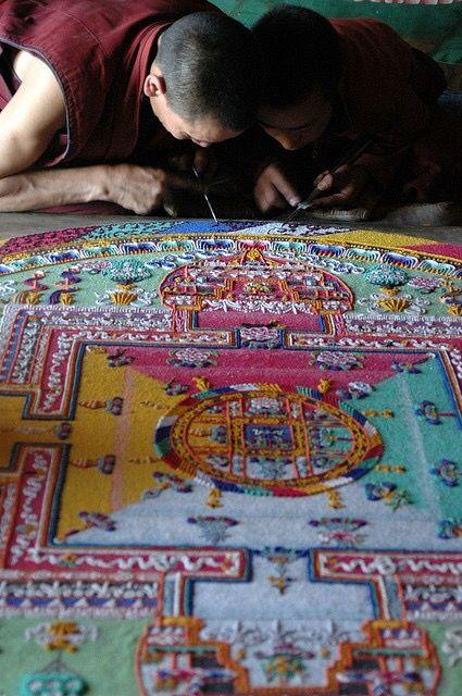 Buddhist monks working on sand mandala, Karsha Monastery in Padum, Ladakh, India