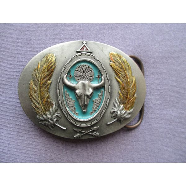 Buckle, Vintage Pewter Western South West Rodeo Cowboy Ranch Skull... (77 ILS) ❤ liked on Polyvore featuring jewelry, green turquoise jewelry, skull jewelry, western jewelry, pewter jewelry and cowgirl jewel