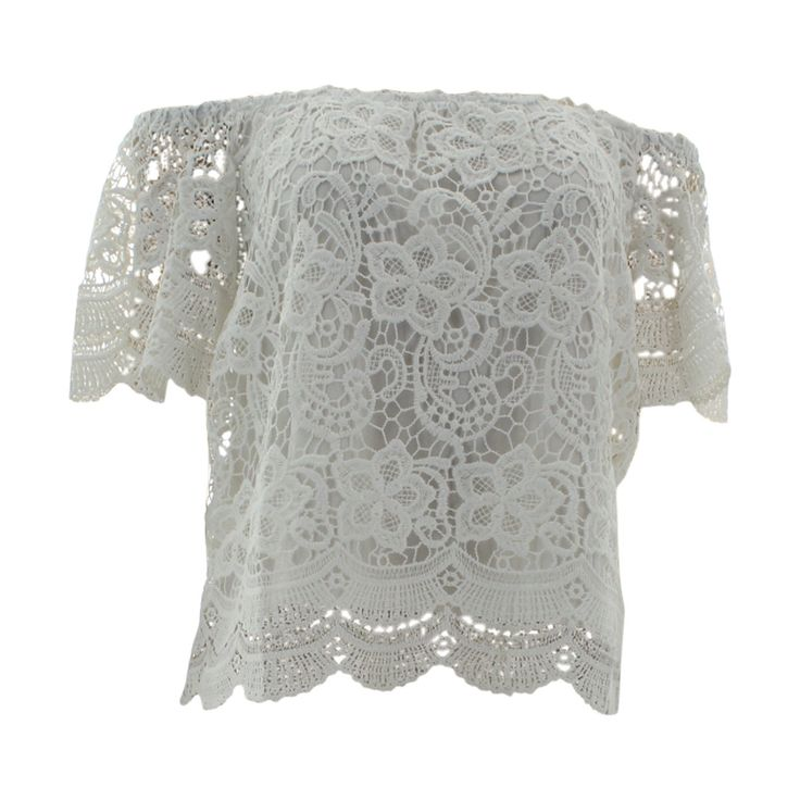 Haute Monde - Women's Short Sleeves Off Shoulder Lace Crochet Top - Off White