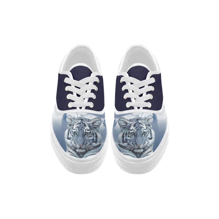 Blue White Tiger Aries Canvas Platform Men Shoes