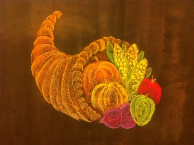 November ~ Thanks & Gratitude ~ Cornucopia ~ chalkboard drawing