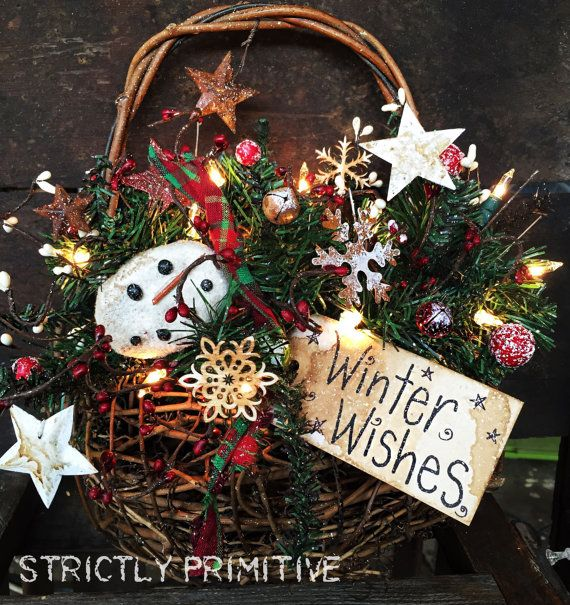 Primitive basket with christmas Greenery and by StrictlyPrimitive