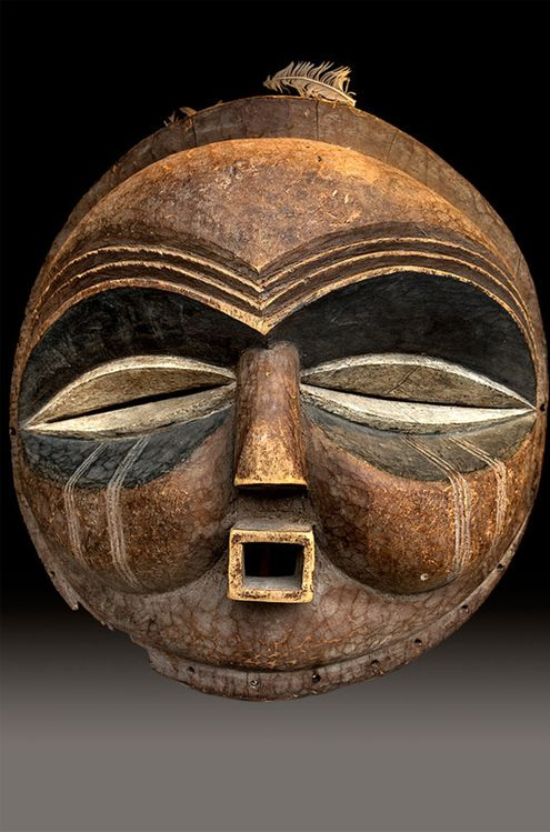 Africa | Mask from the Mbundu people of Zambia | Wood and pigment