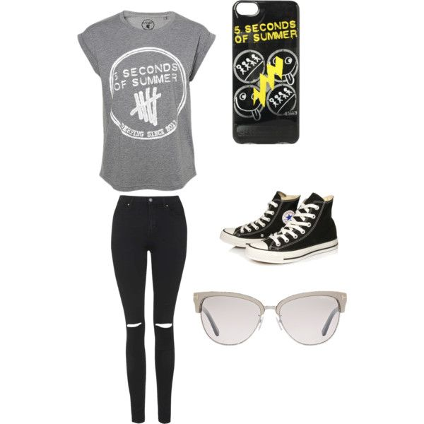 What you would wear to a 5SOS concert. by mevergara on Polyvore featuring polyvore, beauty, Tom Ford, Topshop and Converse