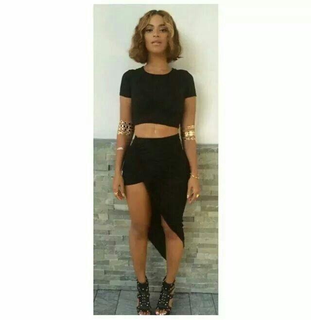 Copy Yoncé's look with La Femme Rebelle Clothing's Black Asymmetrical Drape Skirt....  http://lafemmerebelle.storenvy.com/products/7170404-black-asymmetrical-drape-skirt