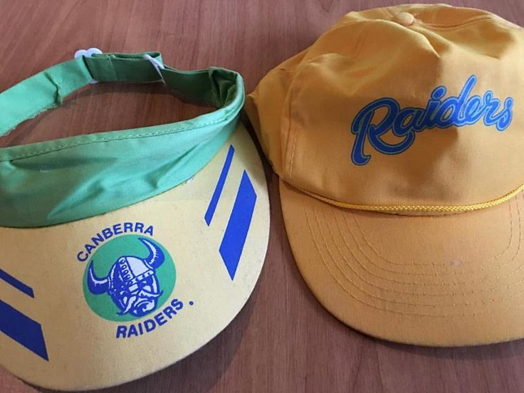 Canberra Raiders sun visor from the 1989 Grand Final, Raiders cap early 1990s.