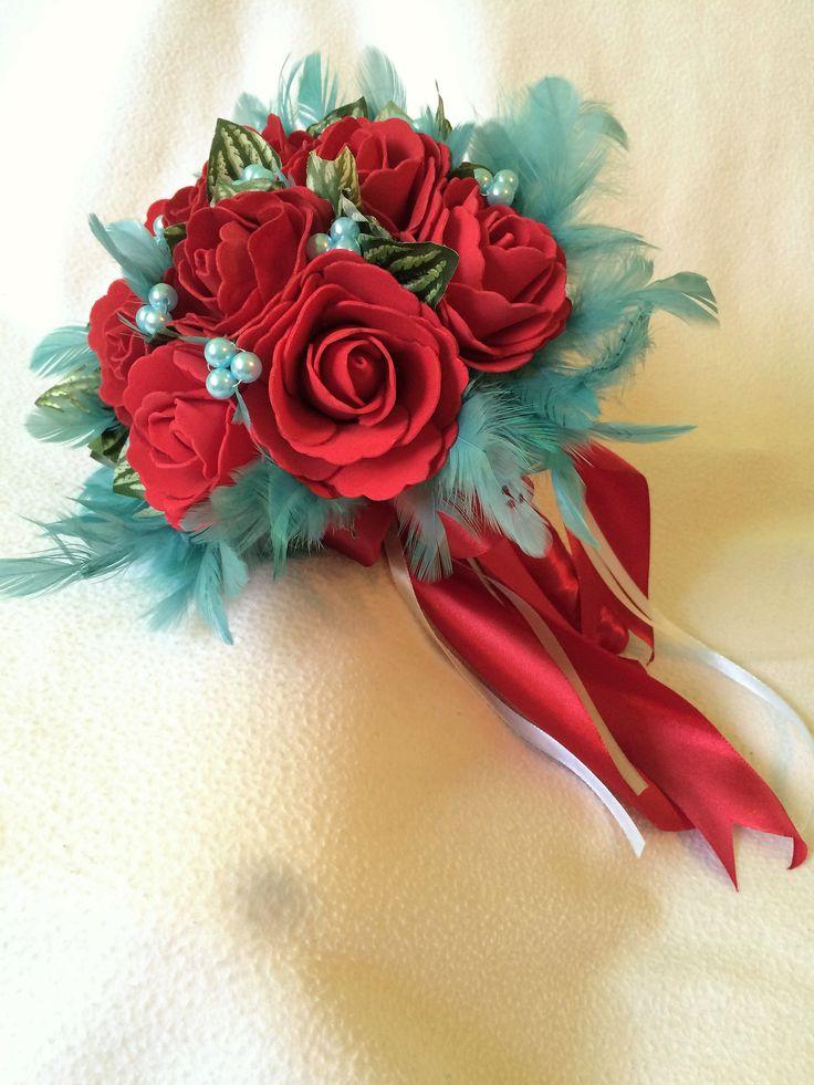 Beautiful handmade red and blue silk flower wedding bouquet US$36.64