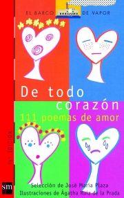 """De todo corazón incluye poemas de grandes escritores como Rubén Darío, Pablo Neruda y Pedro Salinas. Para cada momento del amor, el lector encontrará un poema. Para acercarse, """"Por debajo del agua"""" de José Ángel Valente; para declararse, """"Ni vivir puedo en tu ausencia"""" de Blanca de los Ríos; para reclamar, """"Si me quieres, quiéreme entera"""" de Dulce María Loynaz; o para despedirse, """"Nada más"""" de José Agustín Goytisolo."""