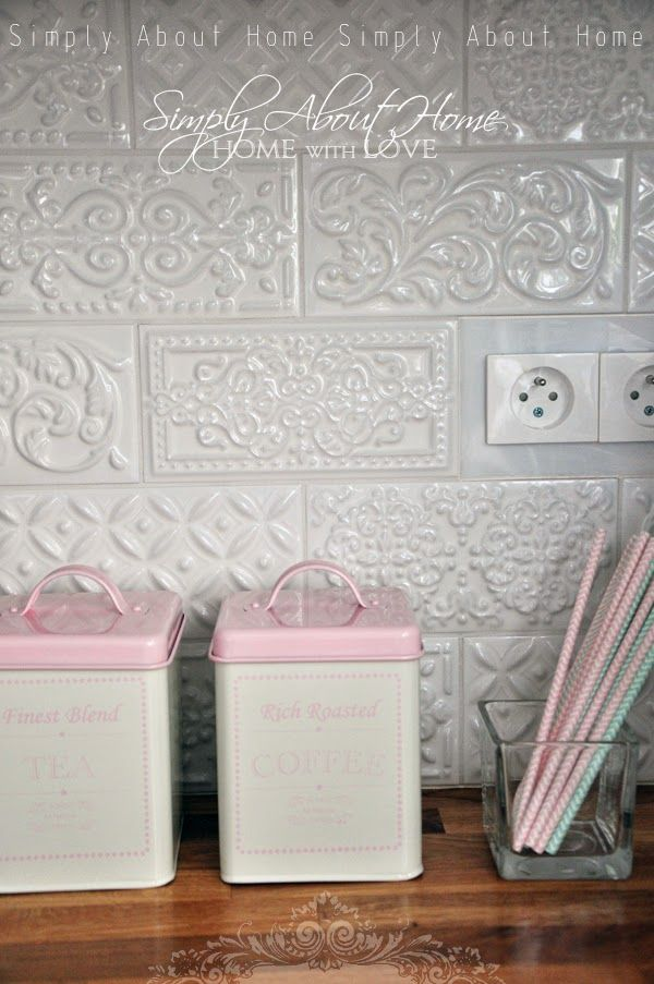 Backsplash Simply About Home Serce Domu Kitchen Ceramic Tiles Mint Pink White Kitchen