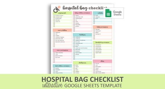 Hospital Bag Checklist Google Sheets Template Editable Checkable Printable New Baby Packing List Instant Digital Download Hospital Bag Checklist Hospital Bag Hospital Bag For Mom To Be