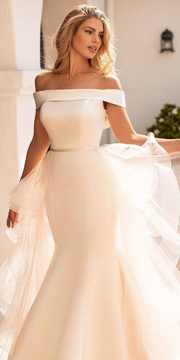 42 Off The Shoulder Wedding Dresses To See Off The Shoulder Wedding Dresses Simple M Satin Mermaid Wedding Dress Moonlight Wedding Dress Short Wedding Dress