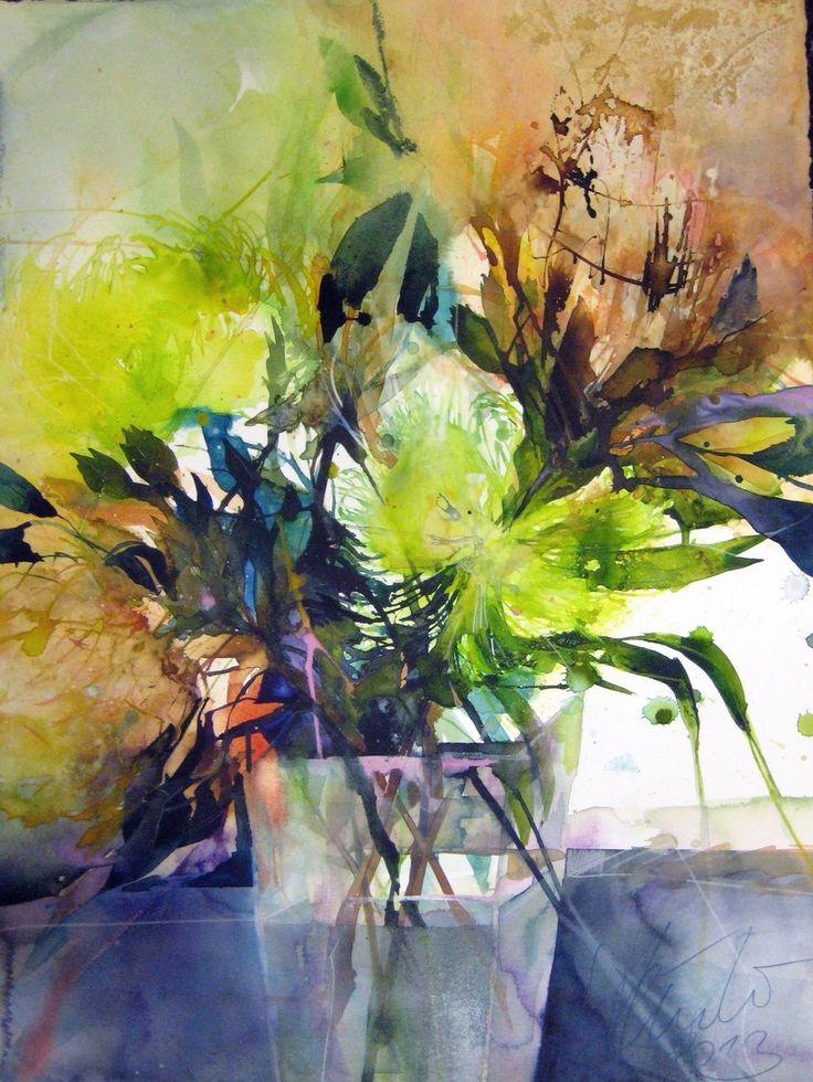 Schwarze Tapete Mit Wei?en Blumen : Elke Memmler Watercolor