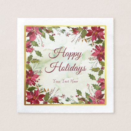 Watercolor Red Poinsettia with Faux Gold Trim Paper Napkin - watercolor gifts style unique ideas diy