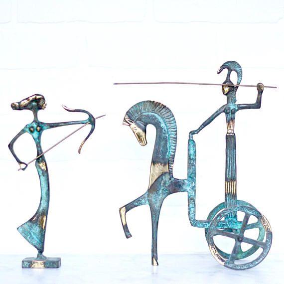Bronce etrusco carro jinete y arquero  juego de 2  Fredrick