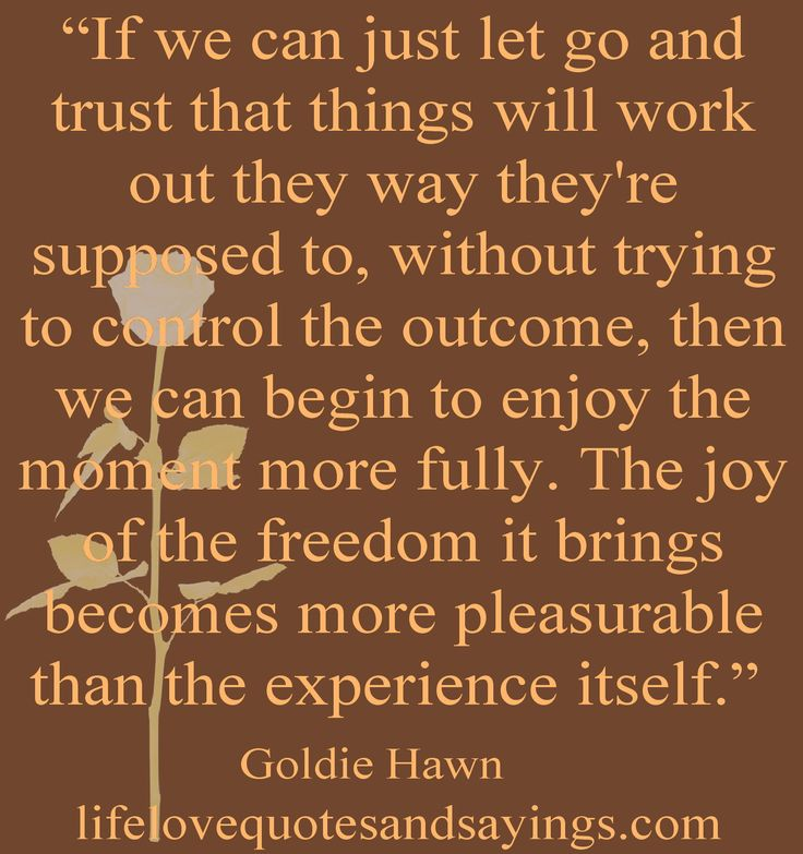"""""""If we can just let go and trust that things will work out they way they're supposed to, without trying to control the outcome, then we can begin to enjoy the moment more fully. The joy of the freedom it brings becomes more pleasurable than the experience itself.""""  ― Goldie Hawn"""