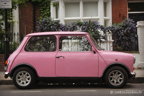 Pink Mini Cooper in London