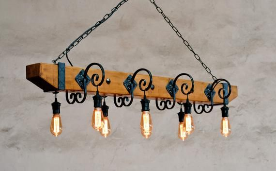 Chandelier Lighting Vintage Wrought Irom And Wood 8 Arms Facing