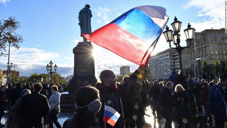 290 arrests in anti-Putin march on Russian leader's birthday   -  October 8, 2017:    Demonstrators gather by a statue of poet Alexander Pushkin in an anti-Putin rally in Moscow on Saturday.