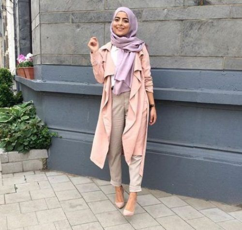 pink peach hijab outfit- How to wear long cardigan with hijab http://www.justtrendygirls.com/how-to-wear-long-cardigan-with-hijab/