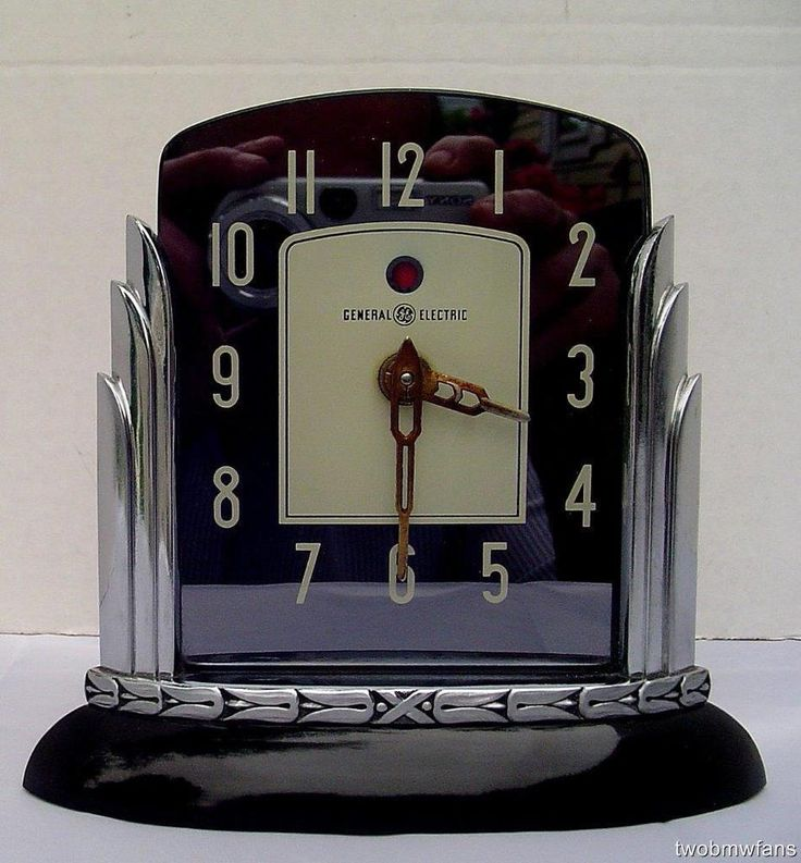 RARE VINTAGE ART DECO G-E TELECHRON CLOCK~ LOTUS ~ W/ CATALIN / BAKELITE BASE