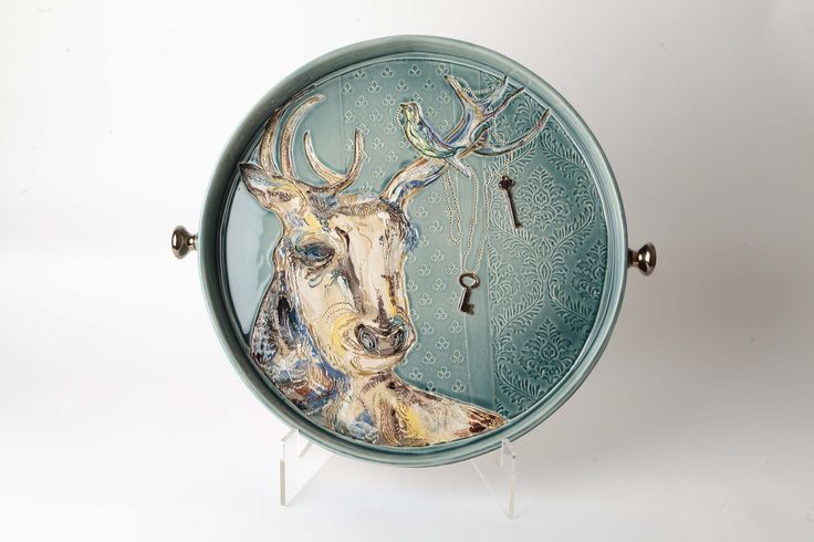 """Large Ceramic Wall Dish """"The Wollaton Stag"""" By Anna Collette Hunt www.annacollettehunt.com"""