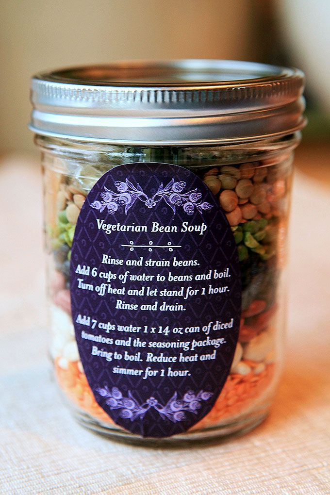 "Vegetarian bean soup in a jar #gift I would skip the bouillon and just say ""add 1/2 vegetable stock and 1/2 water"" instead of just water."