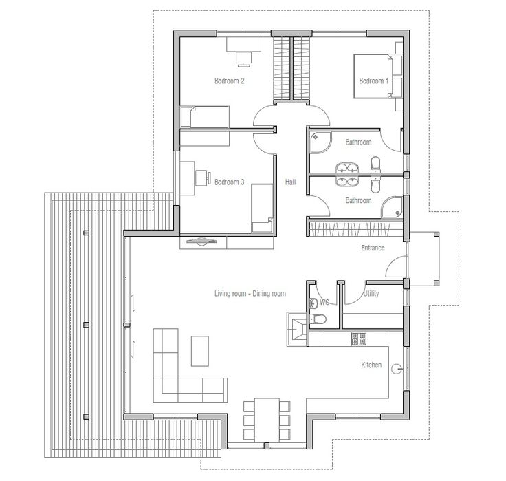 Attractive Small House Plan With Vaulted Ceiling And Three Bedrooms. Modern House Plan  To Modern Family.