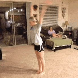 """When this came on my dashboard, the comments basically went from cheerleading accounts freaking out about how Mykayla barely bends her legs before she flips to going, """"Wait! Is she a gymnast?!"""", haha. Idk, I just really thought that was funny:). (gif of Mykayla Skinner)"""