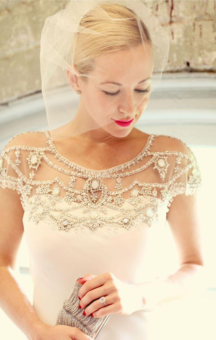 BHLDN Art Deco Inspired Wedding Dress with Beaded Shoulders
