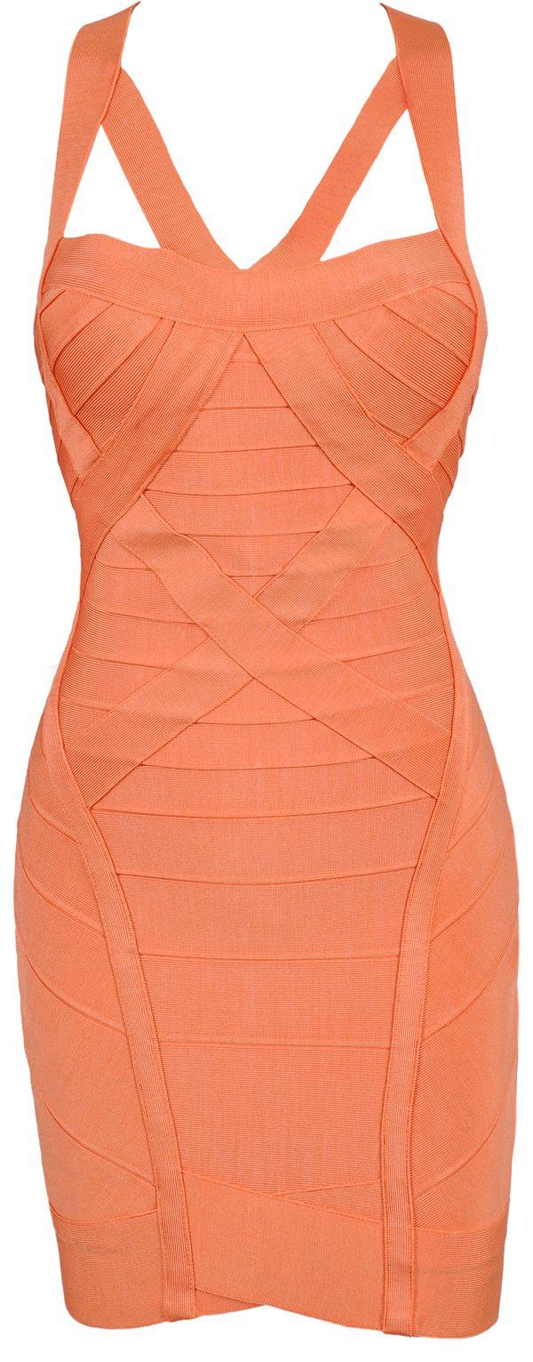 'Papaya' Coral Cut Out Bandage Bodycon Dress