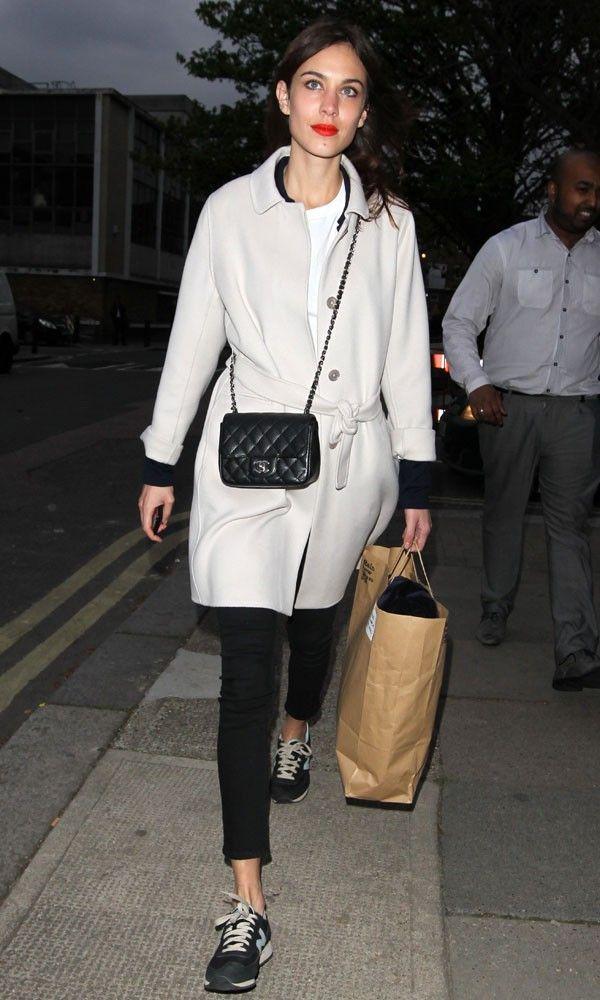 Alexa Chung style. Wearing big coat, New Balance trainers and Chanel bag.