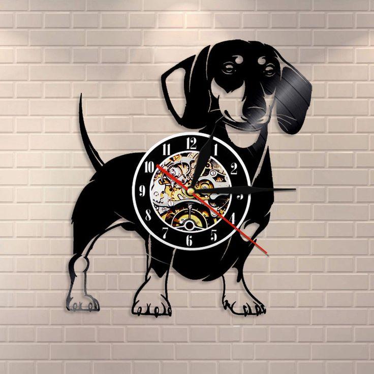 Dachshund Dog Wall Clock Doxie Dog Nursery Wall Decor Vinyl Clock Dog Lover Gift