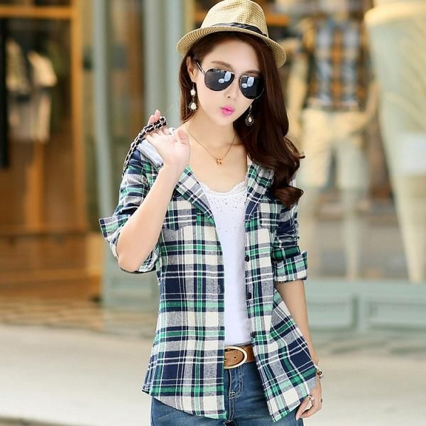Cotton Long Sleeve Red Plaid Hoodie Casual Fit Blouse Plus Size Sweatshirt