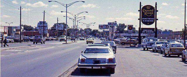 Ground Round Restaurant Sign on N Harlem Ave in Norridge, Il in 1980.