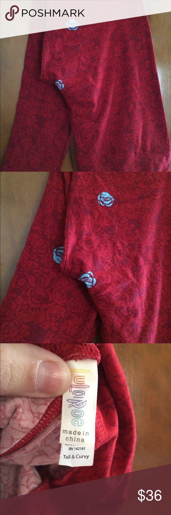 New lularoe TC leggings roses red with tags Brand new with tags- TC lularoe leggings! Pet free and smoke free home! LuLaRoe Pants Leggings