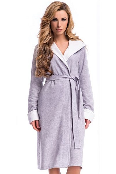 Szlafrok 6067 grey melange - odzież ciążowa Piękna Mama