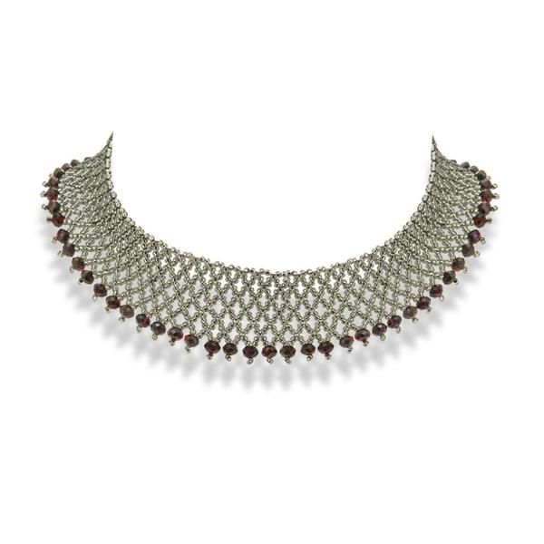 Handmade Dark Gray Silver Red Shimmering Beaded Choker Necklace - Anthos Crafts - 1