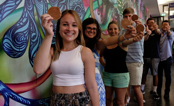 Students loving their stroopwafels