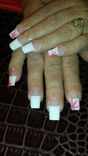 Long cut French manicure with pink lines