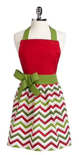 Christmas chevron apron. Would be easy to DIY with a bit of fabric and some wide ribbon.
