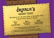 Willy Wonka Golden Ticket Birthday Party Invitation
