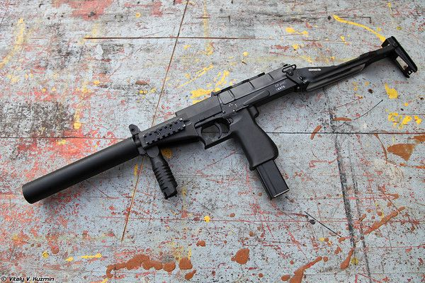SR2MP submachine gun with 9x21mm SP-10 steel-cored AP rounds and unfolded stock
