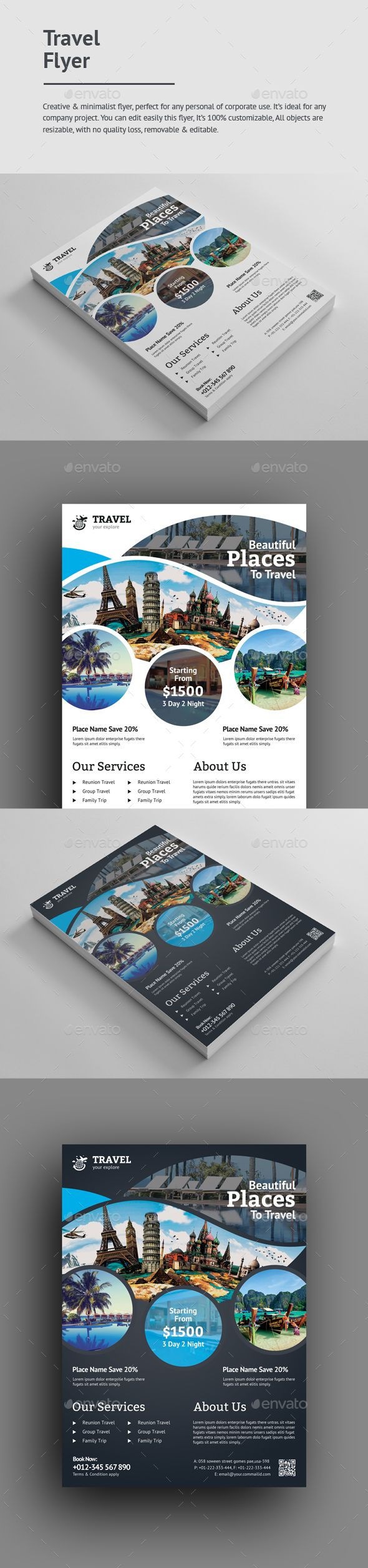 #Travel #Flyer - Holidays Events Download here: https://graphicriver.net/item/travel-flyer/19692750?ref=alena994